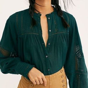 NWT Free People Emma Button Down Blouse